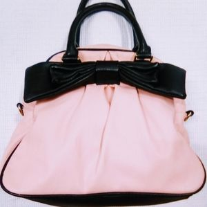 Betsey Johnson Pink & Black Bow Handbag